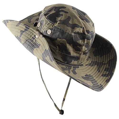 Micoop Wide Brim Military Camouflage Hat Summer Fishing Hunting Camping Hiking Cap Outdoor Sun Hat Boonie Hat
