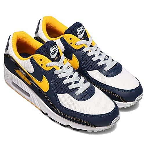 Nike Air Max 90 - Zapatillas deportivas para hombre, Unisex adulto, Azul oscuro, blanco y amarillo., 42 UE