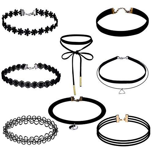 Soleebee Choker Halsketten Set Mode Velvet Halskette Gummi Stretch Samt Halsband Tattoo Spitze Kette Schmuck-Sets Damen Halskette Schmuck für Frauen Mädchen (8 Stück)