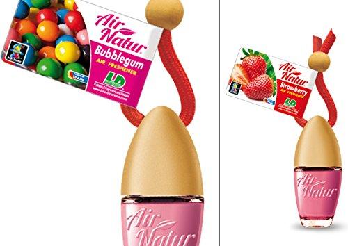 2 stijlvolle modieuze Air Natuur Little Bottle geurflacon luchtverfrisser auto en kamer geur 6 ml - geur Bubble Gum - kauwgom + aardbei