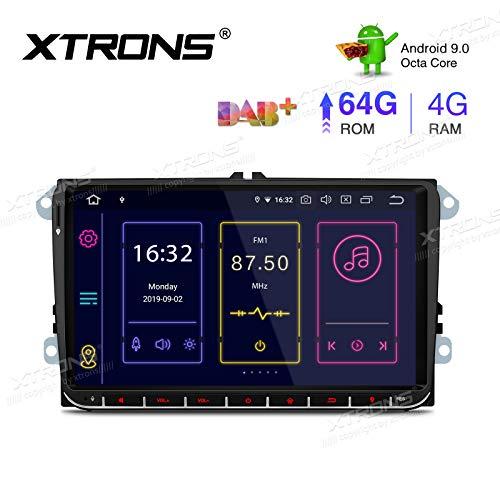 "XTRONS 9\"" Android 9.0 4GB RAM 64GB ROM Autoradio mit Touch Screen Octa Core Multimedia Player unterstützt 4G WiFi Bluetooth DAB OBD2 TPMS Musik Streaming Plug und Play FÜR VW Skoda SEAT"