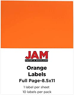JAM PAPER Shipping Labels - Full Page Sticker Paper - 8 1/2 x 11 - Orange - 10 Full Sheets/Pack