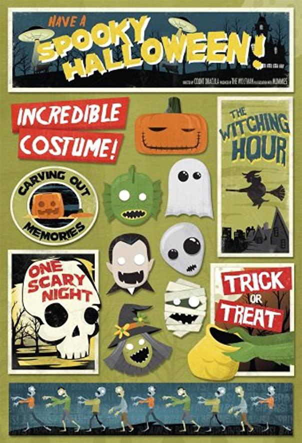 KAREN FOSTER Design Acid and Lignin Free Scrapbooking Sticker Sheet, Spooky Halloween