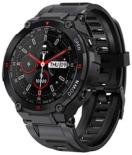 Smartwatch EIGIIS, Orologi Sportivi Tattici Militari Impermeabili Tracker di Attività All'aperto con Chiamata Bluetooth, ContapassiFitness Tracker Watch per Musica (Nero)