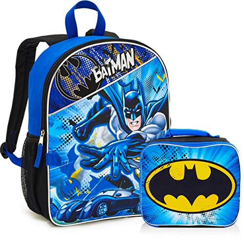 Batman Backpack and Lunch Box Set for Boys Kids ~ Deluxe 16' Batman Backpack with Detachable Insulated Lunch Bag (Batman School Supplies Bundle)