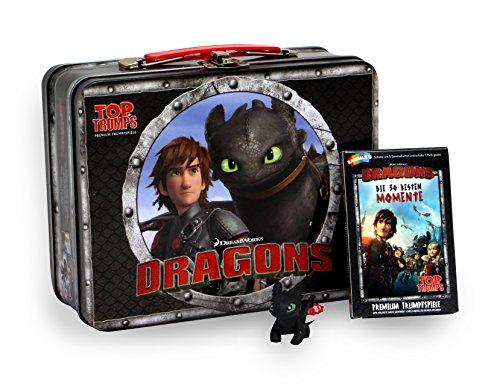Winning Moves 62233 Reise-und Kompaktspiel Top Trumps Dragons Kidsbox - Das Premium Trumpfspiel mit exklusiver Drachenfigur Ohnezahn