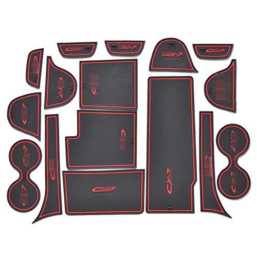 HAZYJT Alfombrilla con Ranura para Puerta, Alfombrilla De Goma 3D, Alfombrilla Interior para Taza,Alfombrilla Antideslizante para El Interior del Coche, Ajuste para Mazda CX-7 CX7 CX 7,Rojo