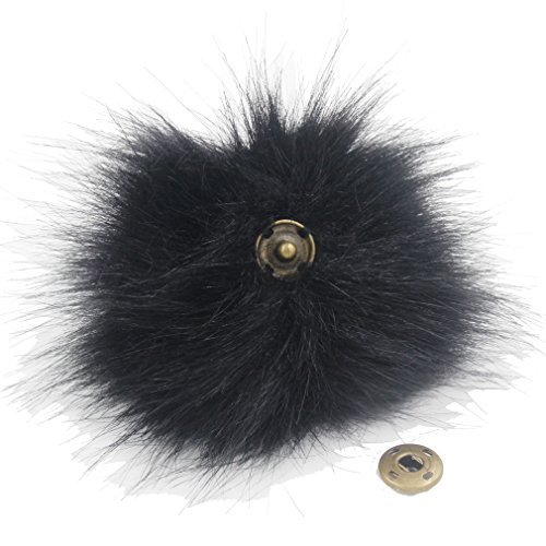 Pack of 12 Faux Raccoon Fur 4.3inch Pompoms Ball with Press Button Popular Mix