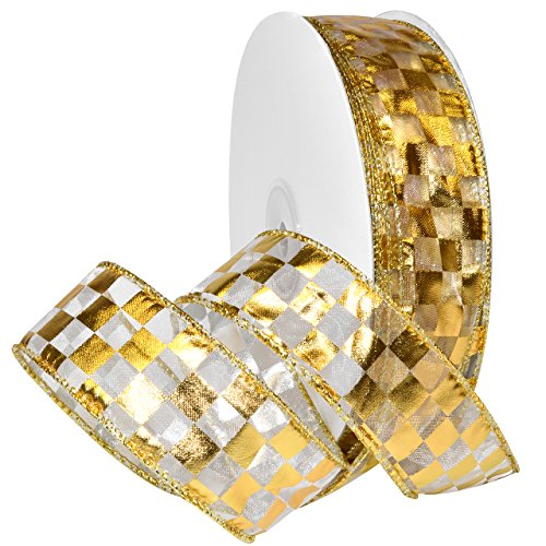 Morex Ribbon 7423.40/50–634 French Wired Nylon Schachbrett Folie Band, 1 1/5,1 cm X 50 YD, weiß/Gold