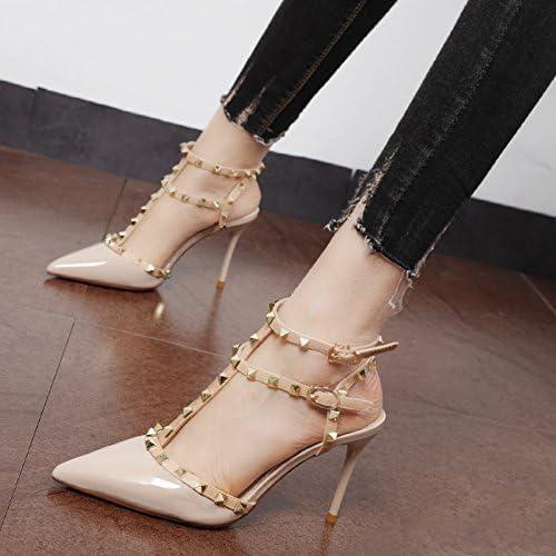 Xue Qiqi chaussures à haut talon sauvage femelle avec rivets-t à pointe fine cravate fendue chaussures sandales