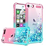 iPod Touch 7 Case, iPod Touch 6/Touch 5 Case with HD Screen Protector for Girls Women, Gritup Cute Clear Gradient Glitter Liquid TPU Slim Phone Case for Apple iPod Touch 7th/ 6th/ 5th Pink/Teal