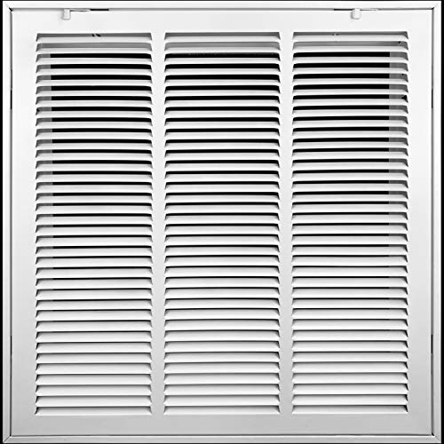 18' X 18' Steel Return Air Filter Grille [Removable Face/Door] for 1-inch Filters HVAC Duct Cover Grill, White   Outer Dimensions: 20 5/8'W X 20 5/8'H for 18x18 Duct Opening
