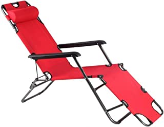 Foldable Lounge Chair Chaise Bed, Adjustable Reclining Positions with Removable Pillow for Camping Pool Beach Patio Suppor...