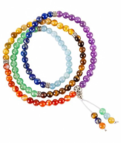 Backpack Buddha 108 Bead Chakra Mala | Wearable Meditation Tool | 7 Crystal for 7 Powerful Chakras