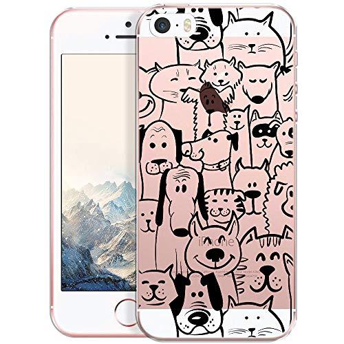 OOH!COLOR Handyhülle kompatibel mit iPhone 5 iPhone SE iPhone 5s Hülle Silikon H& Motiv transparent dünn Schutzhülle durchsichtig Case Tiere (EINWEG)