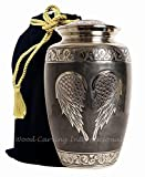 Wood Carving International - Angel Wings, Urns for Ashes - Burial or Funeral Cremation Urns for Adult Ashes - Keepsake   Aluminium Urns