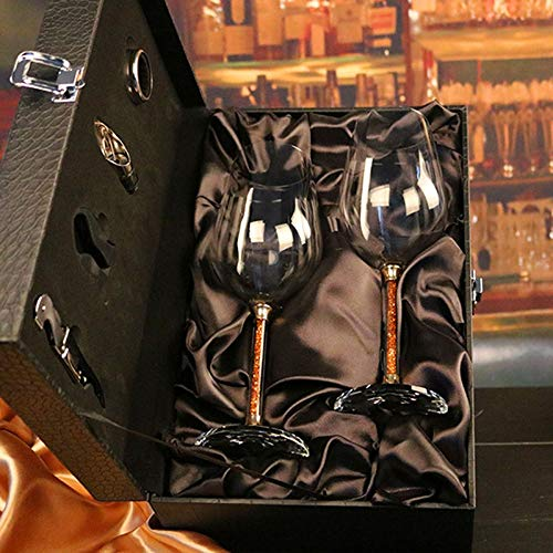 ZHUANGSHI di Alta qualità Senza Piombo Cristallo Vino Rosso di Vetro con Calice di Diamanti Vino Vetro Bicchieri da Vino di Cristallo Regalo di Nozze Set Bar drinkware-b imballaggio Valigia