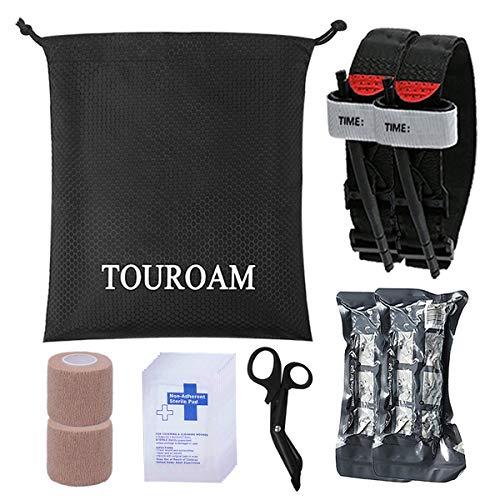 TOUROAM Kit Primeros Auxilios médicos Trauma Bolsa Salvamento IFAK Molle Suministros Militares torniquete, Vendaje israelí, Kit Primeros Auxilios SOS