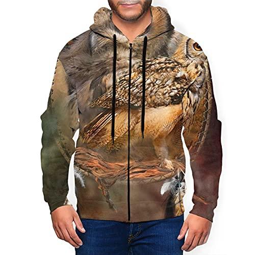 Sudadera con capucha para hombre Spirit Of The Owl Sudadera con capucha 3d estampado chaqueta cremallera jersey camisa