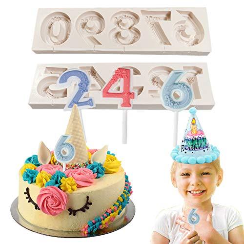 workbees Silikon Zahlen Form, 0-9 3D-geprägte Fondant-Schokoladenform, 3D-Zahlenform für die Kuchendekoration, Form für die Geburtstagstorte zum Dekorieren DIY-Backen, Weiß