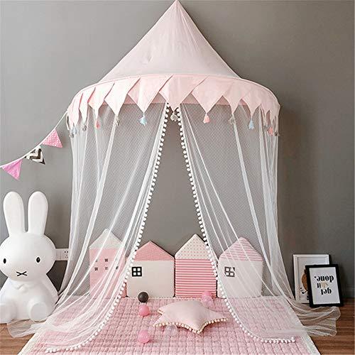 Hayisugal Betthimmel für Kinder Babys Bett Kuppel Hängende Moskiton für Schlafzimmer Kinderzimmer Spielzelte Deko…, Rosa+Quaste+Gaze, L/145 * 70cm