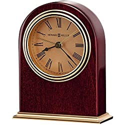 Howard Miller Parnell Table Clock 645-287 – Rosewood Hall and Brass Features Home Decor with Quartz, Alarm Movement