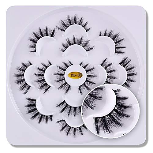 7 paires 3D cils vison Fluffies à la main Wispies Styles mélangés Naturel Longs Faux Cils(08)