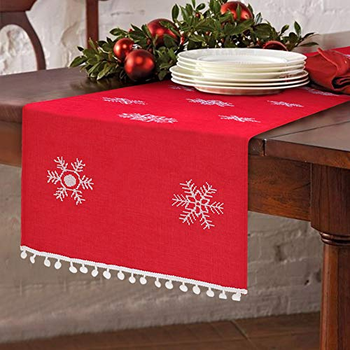 OurWarm Christmas Embroidered Table Runner White Snowflakes Table Linens for Christmas Decorations 16 x 72 Inch