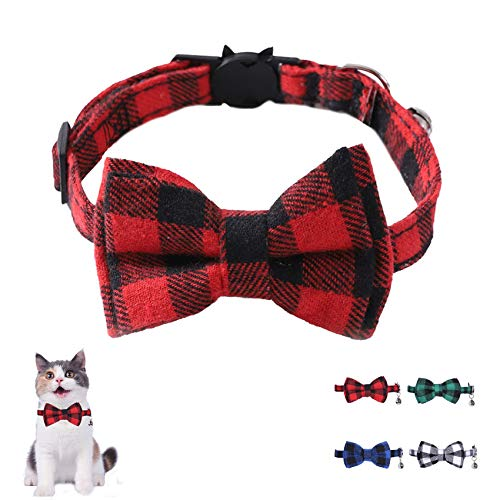 HAFRILY Kitty Safety Collar Plaid cat collar, quick release, with cute bow...