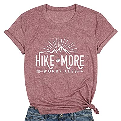 Hike More Worry Less Shirts for Women Hiking Shirt Funny Letter Print Tshirt Short Sleeve Shirt Gift for Hiker (Pink, Small)