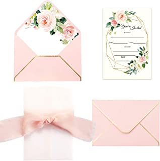pink flower wedding invitations