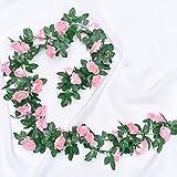 Owoda 2 Pezzi 2.2m Fiori Artificiali Ghirlanda, di Rose Artificiali Vite Finta Fiori con Foglie di Edera Verde per Casa, Matrimoni, Giardini, Feste di Compleanno e Decorazioni Varie, Rosa