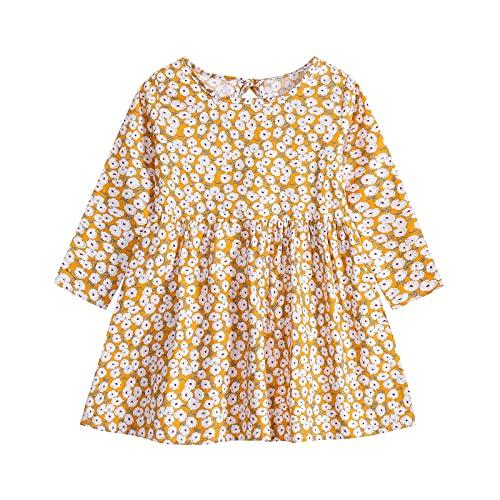 Vestido floral de manga larga con estampado de flores y princesas para primera fiesta de cumpleaños, casual, vacaciones de primavera, blanco, 12 meses