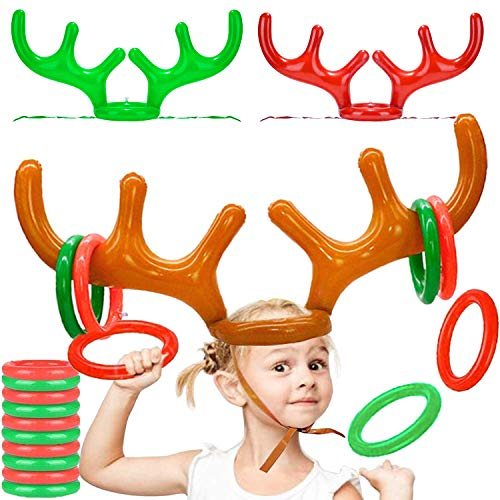 iGeeKid 3Pack Inflatable Reindeer Antler Ring Toss Game for Christmas Party Supplies Xmas Target Game Toys Christmas Stock Stuffer Christmas Party Games (3 Antlers 12 Rings)
