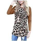 Kolila T-Shirts Tops Damen Leopardenmuster Farbblock Tunika Rundhals Langarmshirts Gestreifte Beiläufig Blusen Oberteile