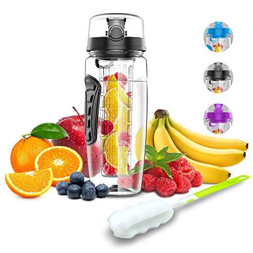 Babacom Wasserflasche Mit Fruchteinsatz 1L/32OZ Trinkflasche Sport mit Infuser Reinigungsbürste Verschluss Tragehenkel für Fruchtsaft BPA-frei Tritan