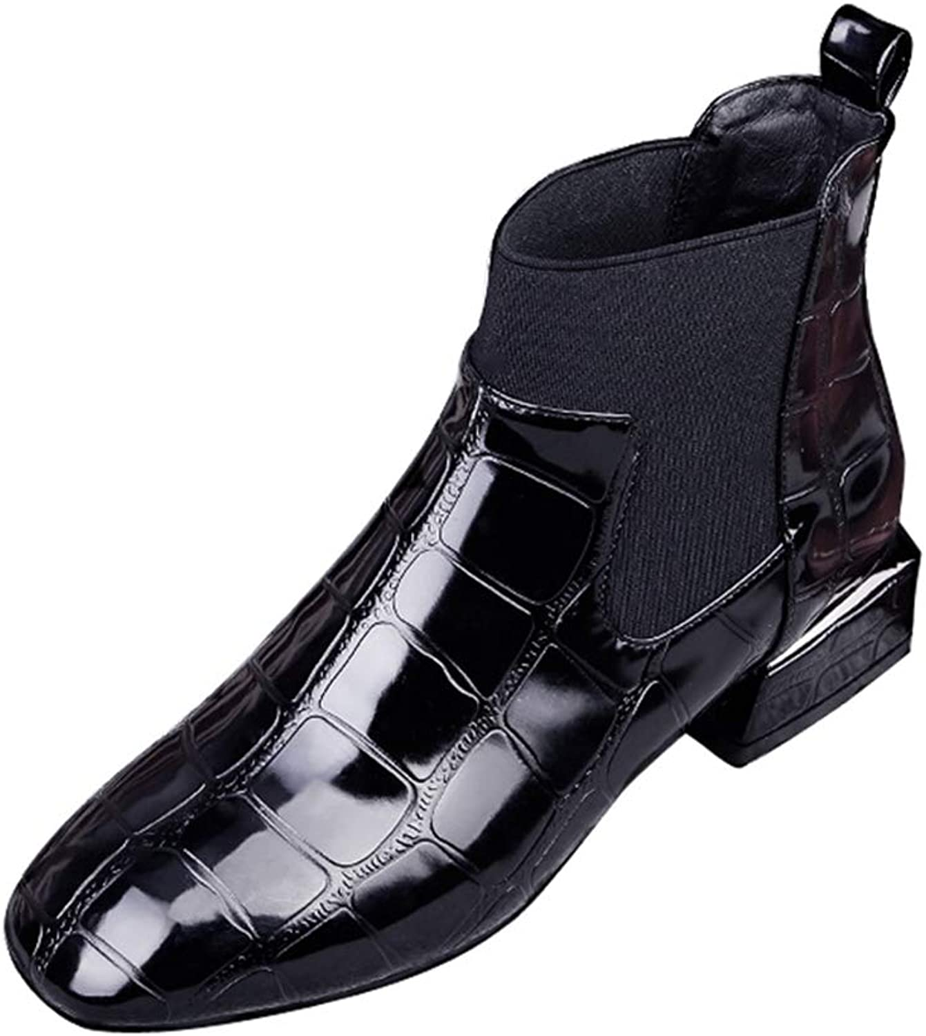 Hoxekle Women Fashion Ankle Boots Square Toe Low Square Heel PU Black Slip On Office Casual Short Boots