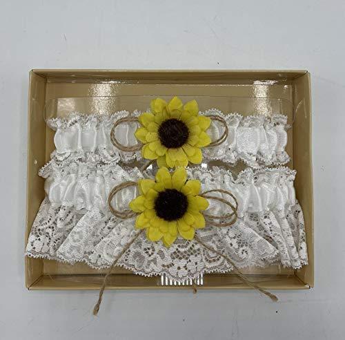 Sunflower Garter Keep & Toss Set - Rustic Burlap and Lace Wedding