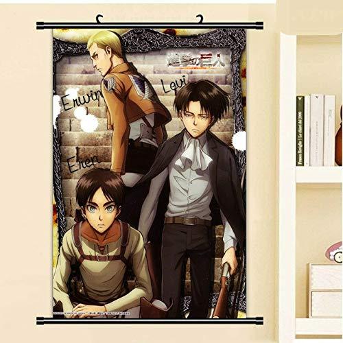 JIAJIAFU Cuadros Colgantes De Dibujos Animados Attack On Titan Anime Wall Scroll Poster Canvas Painting 40 X 60 CM N