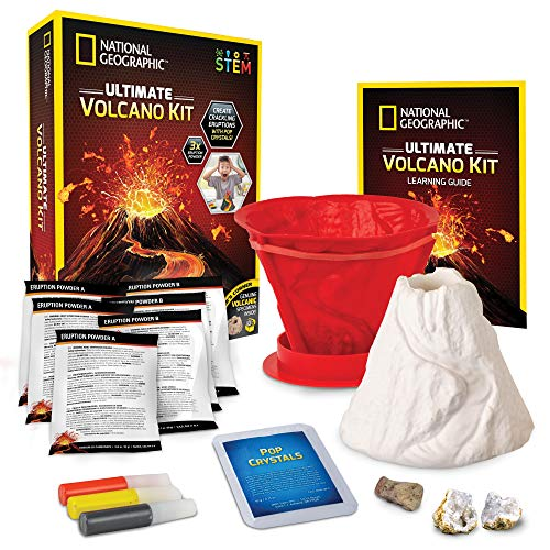 NATIONAL GEOGRAPHIC Ultimate Volcano Kit – Erupting Volcano Science Kit for Kids, 3X More Eruptions, Pop Crystals Create Exciting Sounds, STEM Science & Educational Toys Make Great Kids Activities
