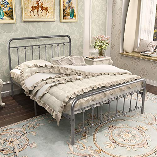 BOFENG Metal Bed Platform Frame Double with Headboard and Footboard Mattress Foundation Slat Support Box Spring Replacement for Kids Adult Beds Black Silve