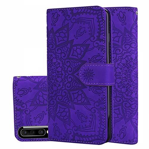 LINSHAOHUI Funda de piel para Galaxy A30s/A50s, diseño de mandala, doble plegable, con cartera, soporte y ranuras para tarjetas, color negro (color: púrpura)