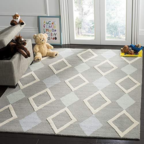 Safavieh Kids Collection SFK902B Handmade Grey Diamonds Wool Area Rug (6' x 9')