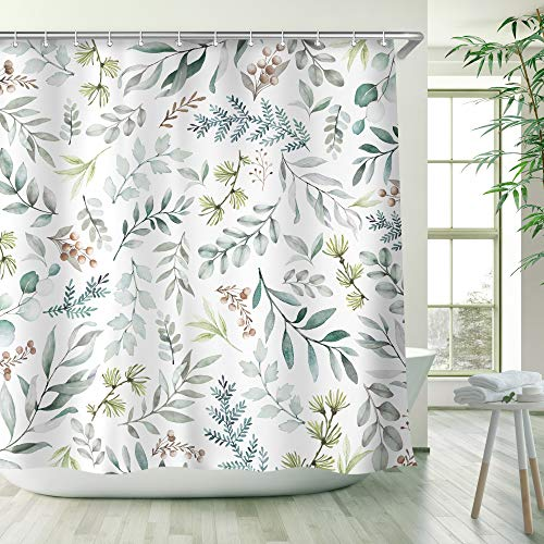 Green Leaves Shower Curtain, Shower Curtains Set with 12 Hooks, Waterproof Shower Curtain, Decor Watercolor Green Leaves Brown Berry, 72x72 (Green, 72x72)