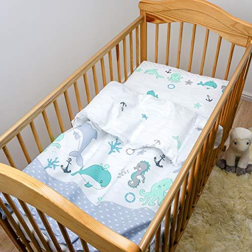 2 Stück Baby Kinder Quilt Bettdecke & Kissen Set 120x90 cm passend für Kinderbett oder Kinderwagen Muster 13