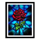 Geiqianjiumai 5D DIY Rosa roja Diamante Pintura Diamante Pintura Rosa roja Bordado Rhinestone Flor Cuadrado Diamante Pintura sin Marco