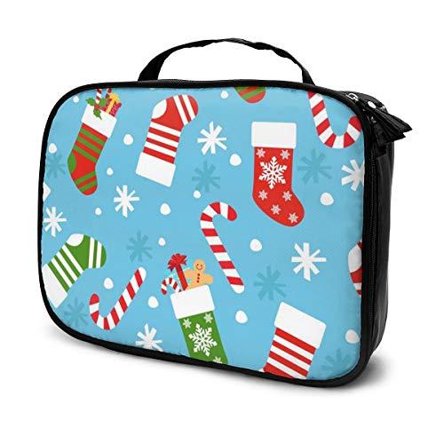 Sacs à cosmétiques pour les femmes voyagent, Trousse de vecteur transparente du nouvel an avec étui à crayons chaussettes de Noël