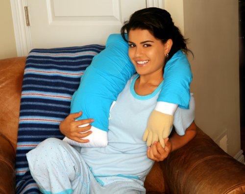 Boyfriend Pillow Microbead Companion Pillow – Cute and Fun Husband, Companion or Cuddle Buddy – Super Soft Body Pillow with Benefits – Unique Gag Gift Idea – Body Pillow, Blue