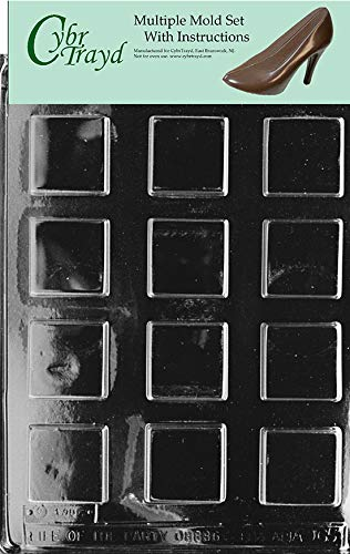 CybrTrayd AO065-3BUNDLE Plain Square Mints Chocolate Candy Mold with Exclusive Copyrighted Chocolate Molding Instructions