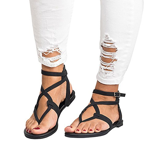 Women's Crisscross Strappy Flat Knee-High Gladiator Sandal - Flat Cross Strap Casual Summer Shoes (8, Black -2)